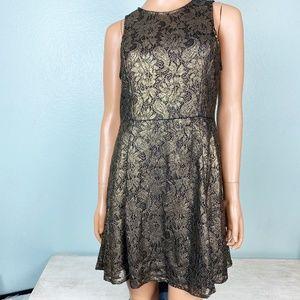 new Gianni Bini gold lace evening dress S